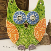 Pottery Owl hanging decoration Ceramic Owl
