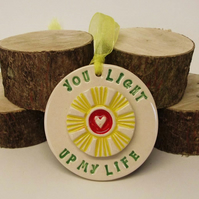 Pottery Decoration You Light up my Life. Ceramic decoration sunshine and heart