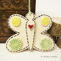 Pottery Butterfly Ceramic decoration. Illustrated Butterfly pottery decoration