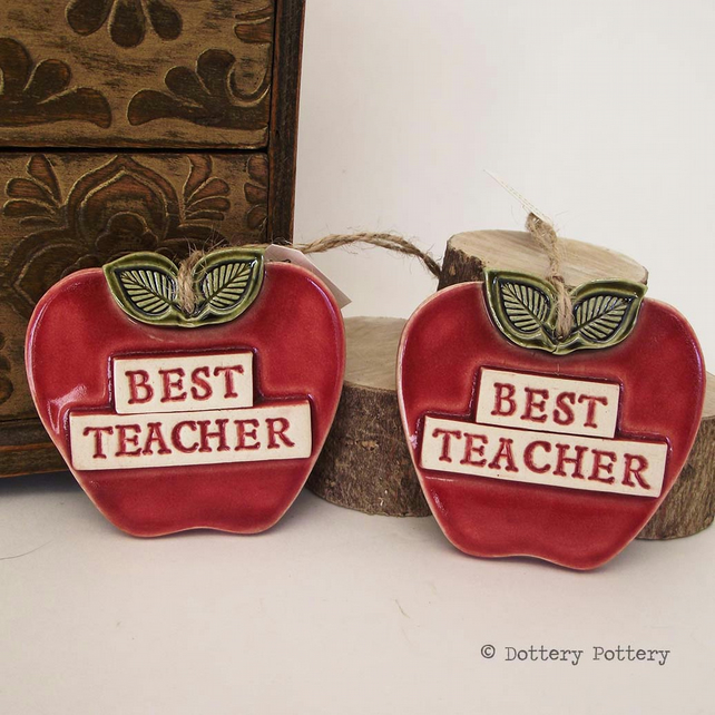 Ceramic Apple decoration Best teacher gift pottery apple