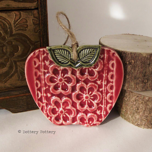 Pottery apple Flower print red apple ceramic decoration Thank You teacher gift