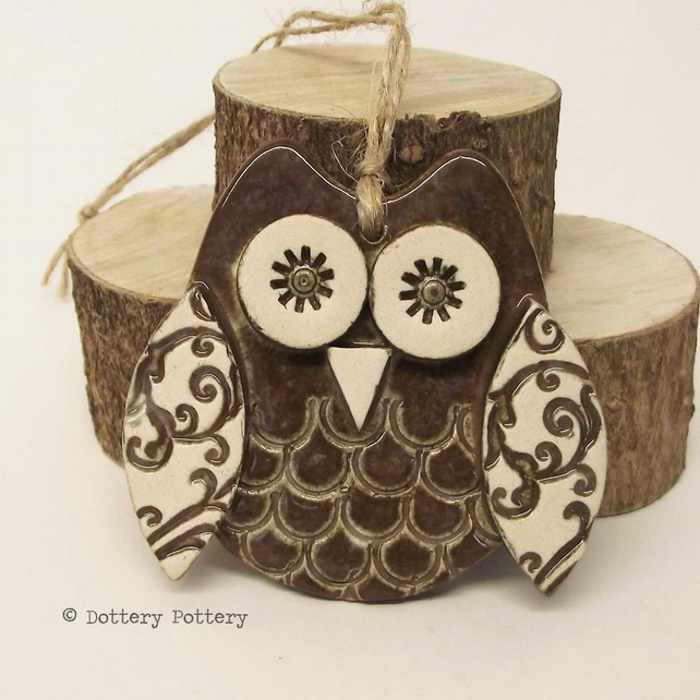 Ceramic owl hanging decoration Pottery owl ceramic bird