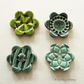 Set of four large flower ceramic buttons blues and greens