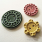 Set of three handmade ceramic buttons pottery buttons pink yellow green