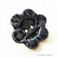 Large ceramic feature flower button dark blue pottery button