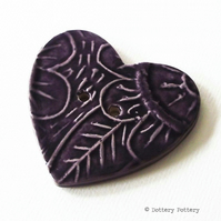 Large ceramic heart button purple pottery button