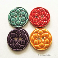 Pottery buttons Set of four large handmade ceramic buttons bright colours