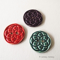 SALE Set of three large  ceramic buttons