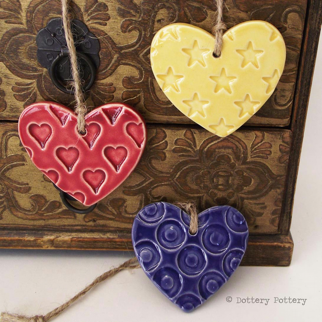 Ceramic Heart decorations set of three pottery hearts bright colours