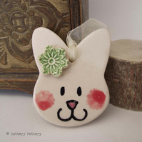 Pottery Bunny hanging decoration ceramic rabbit cute bunny