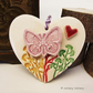 Ceramic heart floral decoration Butterfly gift for gardeners, pottery heart