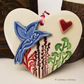 Ceramic heart floral decoration pottery bird gift for gardeners, pottery heart