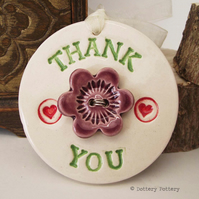 Ceramic Thank You decoration with flower button