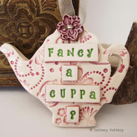 Ceramic teapot decoration with flower button pottery teapot