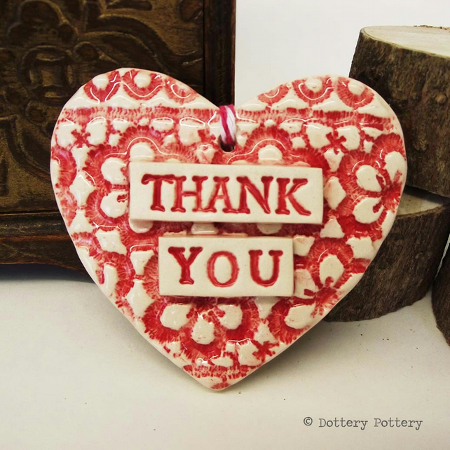 Dark Pink Ceramic heart floral decoration Thank You Teacher Gift Pottery heart