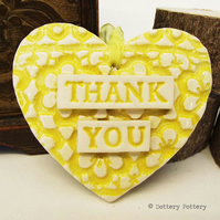 Yellow Ceramic heart floral decoration Thank You Teacher Gift Pottery heart
