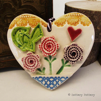 Ceramic heart floral decoration pottery bird, pottery loveheart