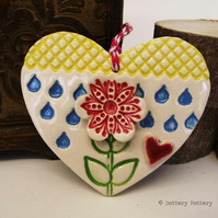 Ceramic heart floral decoration pottery rain, pottery loveheart