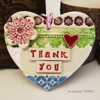 Ceramic heart floral decoration Thank You, pottery loveheart