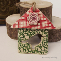 Small Ceramic bird house decoration Pottery Tree Garden