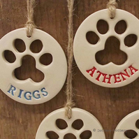 Ceramic dog or cat paw print keepsakes - made to order. Pottery