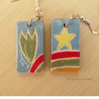 Earrings illustrated ceramic earrings on sterling silver ear wires, cactus, star