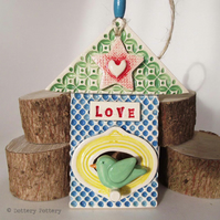 Ceramic bird house decoration Pottery House