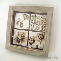 Summer Breeze Ceramic floral tiles presented in a box frame Wall hanging Pottery