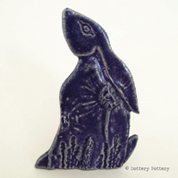 Ceramic Moon Gazing Hare Pottery Hare decoration purple blue rabbit