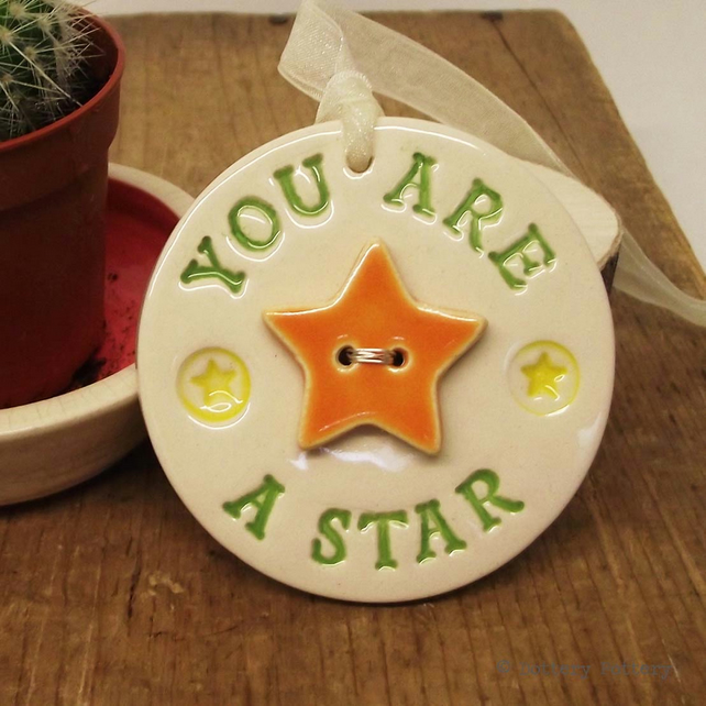 Pottery Decoration with star button You Are A Star