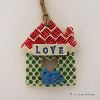 Tiny Ceramic bird house decoration Pottery House