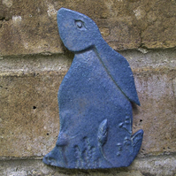 Ceramic Moon Gazing Hare Pottery Hare decoration blue rabbit