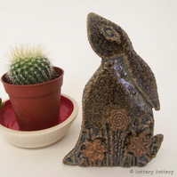 Ceramic Moon Gazing Hare Pottery Hare decoration brown rabbit