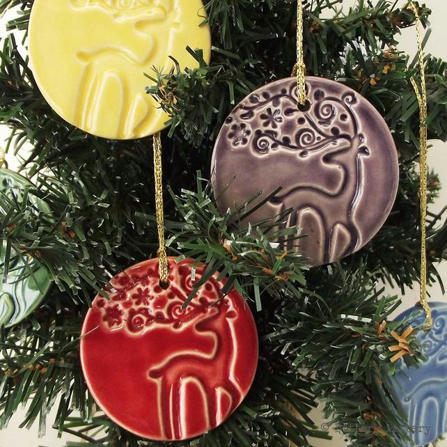 Ceramic stag Christmas decorations bright pottery set of five pottery deer