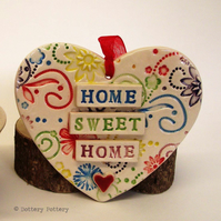 Ceramic heart decoration Home Sweet Home Pottery heart Bright flowers