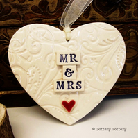 Ceramic Wedding heart decoration Mr and Mrs Bride and Groom Pottery