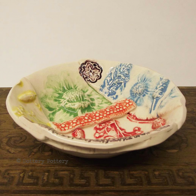 Ceramic bowl patchwork design bright flowers pottery bowl