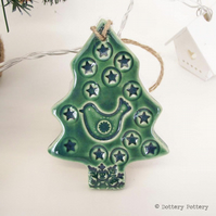 Partridge in a pear tree ceramic Christmas decoration Pottery decoration
