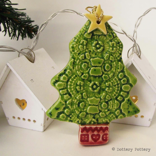 Ceramic Christmas Tree decoration Pottery decoration tree with star