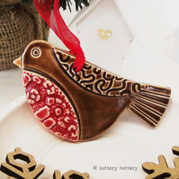 Ceramic Robin decoration Pottery robin pottery bird hanging decoration