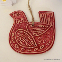 Ceramic Partridge Christmas decoration Pottery Bird Red