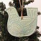 Ceramic Partridge Christmas decoration Pottery Bird Blue