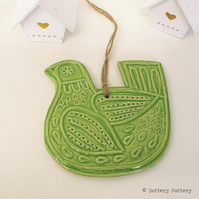 Ceramic Bird decoration Pottery Bird Green