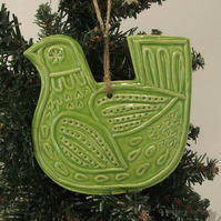 Ceramic Partridge Christmas decoration Pottery Bird Green
