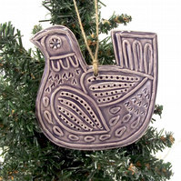 Ceramic Partridge Christmas decoration Pottery Bird Purple