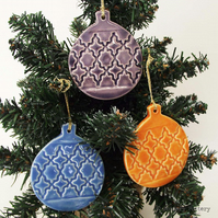 Christmas Baubles set of three pottery Bauble decorations Xmas decorations