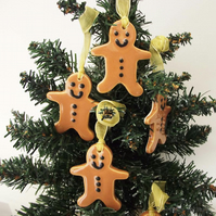 Ceramic gingerbread man Christmas decoration pottery gingerbread men