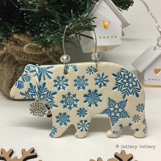 Ceramic Polar Bear with little snowflake charm. Pottery Christmas decoration