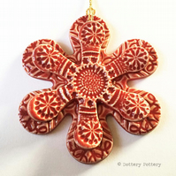 Winter Flower, Christmas decoration pottery flower ceramic flower snowflake RED