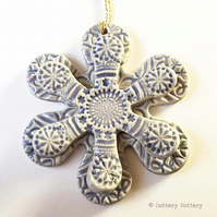 Winter Flower, Christmas decoration pottery flower ceramic snowflake LILAC